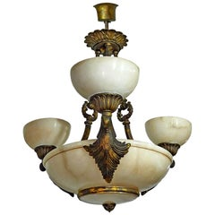 Midcentury French Art Deco and Neoclassical White Marble, Gilt Chandelier