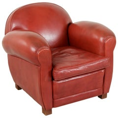 Midcentury French Art Deco Red Leather Club Chair or Lounge Chair, circa 1950