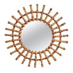 Midcentury French Bamboo Sunburst Mirror, circa 1960s