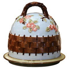 Mid-Century French Barbotine Faience Two-Piece Cheese Dome with Matching Tray