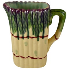 Mid-Century Modern Era French Barbotine Majolica Bundled Asparagus Pitcher