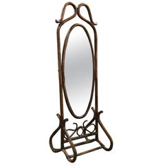 Midcentury French Bentwood and Rattan Floor Mirror