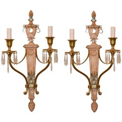 Midcentury French Brass and Crystal Pair of Sconces