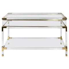 Mid-Century French Brass and Glass Console/Showcase/Virine
