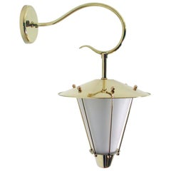 Midcentury French Brass and Opaline Lantern Sconce Wall Light 1950s
