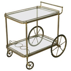 Mid-Century French Brass Bar Cart with Removable Tray