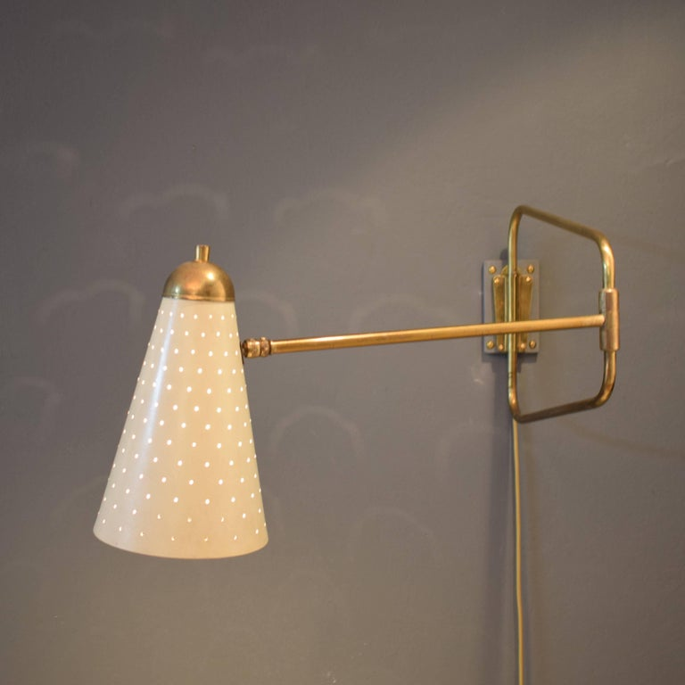 Mid-Century Modern Mid-Century French Brass Swing Wall Light/Scone by Jacques Biny, 1950s For Sale