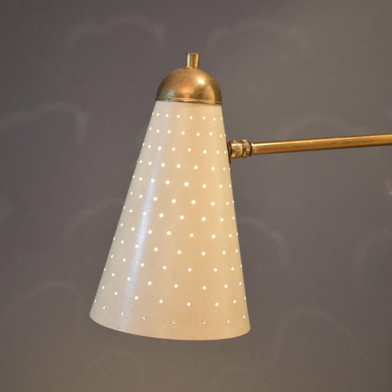 Lacquered Mid-Century French Brass Swing Wall Light/Scone by Jacques Biny, 1950s For Sale