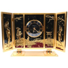 Midcentury French Bronze Chinoiserie Clock