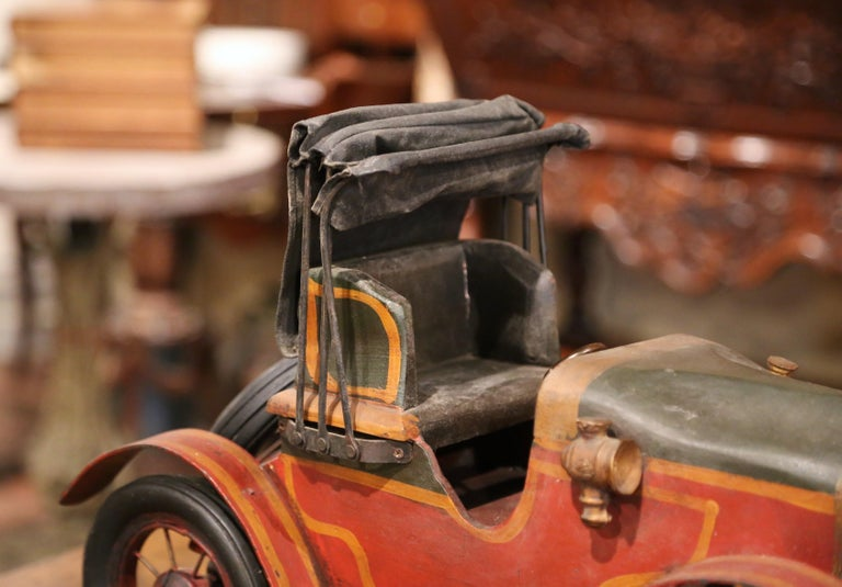 Hand-Crafted Mid-Century French Carved and Metal Painted Vintage Model Car with Canvas Top For Sale
