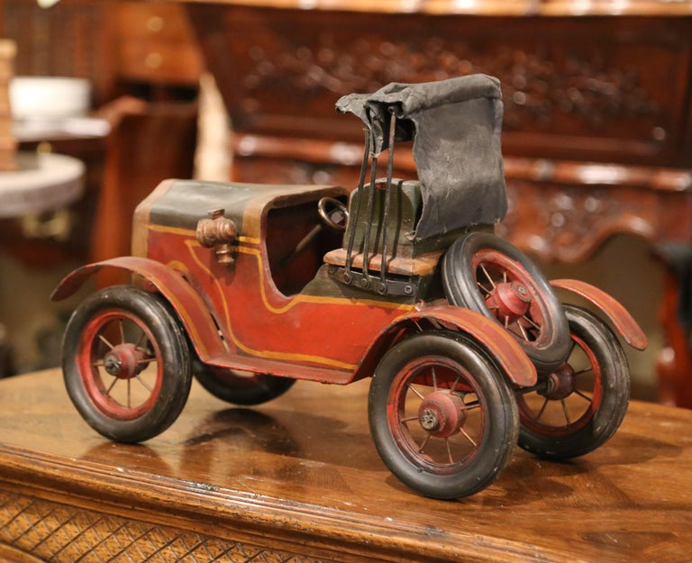 Mid-Century French Carved and Metal Painted Vintage Model Car with Canvas Top In Excellent Condition For Sale In Dallas, TX