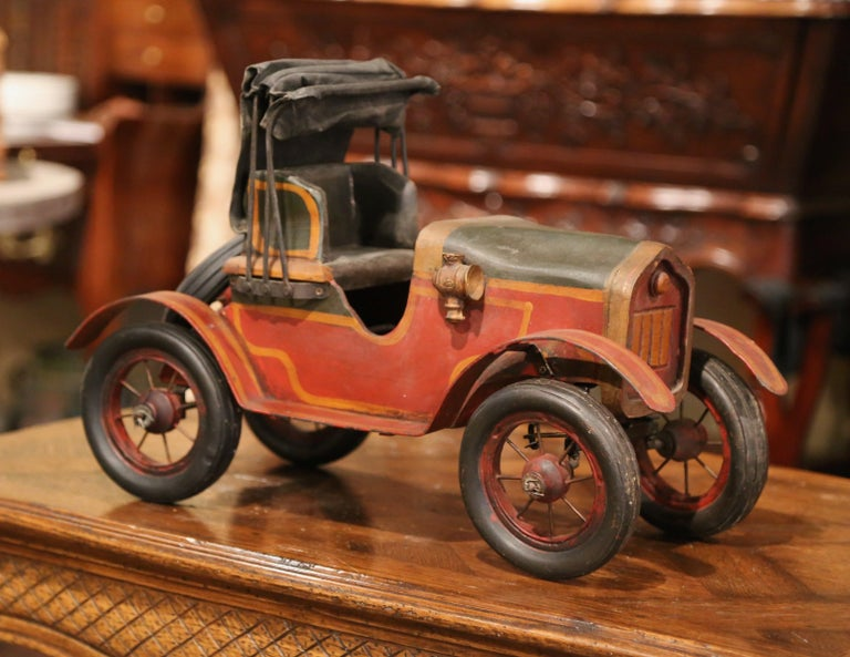 20th Century Mid-Century French Carved and Metal Painted Vintage Model Car with Canvas Top For Sale