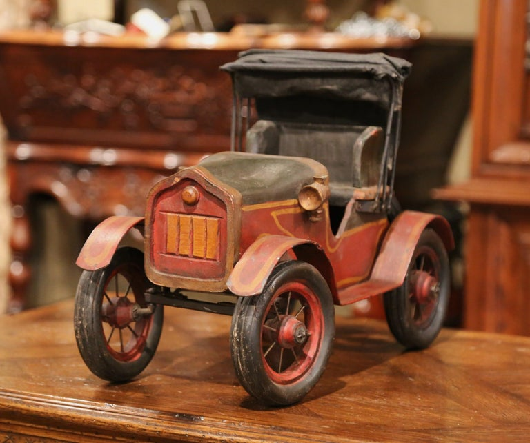 Wood Mid-Century French Carved and Metal Painted Vintage Model Car with Canvas Top For Sale