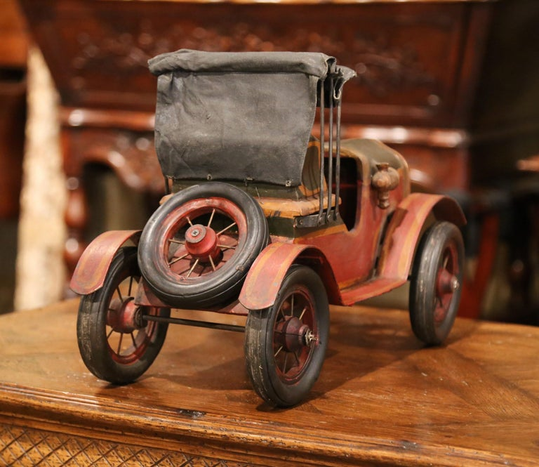Mid-Century French Carved and Metal Painted Vintage Model Car with Canvas Top For Sale 2