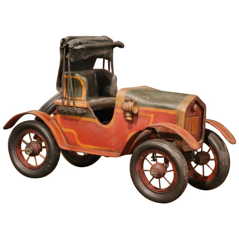 Mid-Century French Carved and Metal Painted Vintage Model Car with Canvas Top For Sale