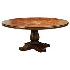 Mid-Century French Carved Walnut Pedestal Round Dining Table with Parquetry Top