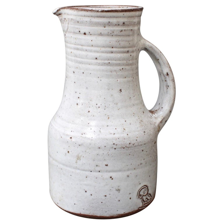 Midcentury French Ceramic Pitcher by Pierlot, circa 1960s For Sale