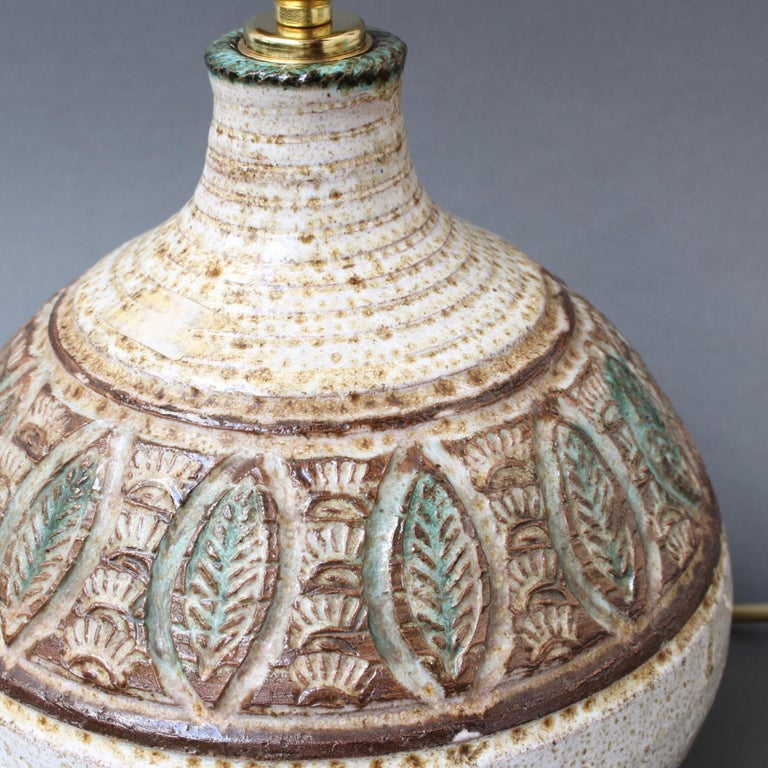Midcentury French Ceramic Table Lamp by Marcel Giraud, circa 1960s For Sale 2