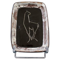 Mid-Century French Ceramic Tray by Claude Vayssier for Atelier Cerenne, c. 1950s