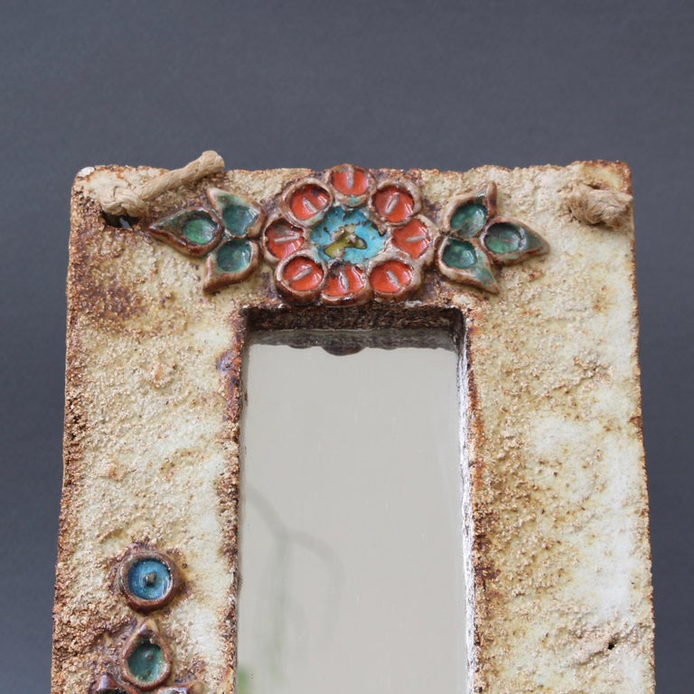 Midcentury French Ceramic Wall Mirror with Flower Motif by La Roue, circa 1960s For Sale 5