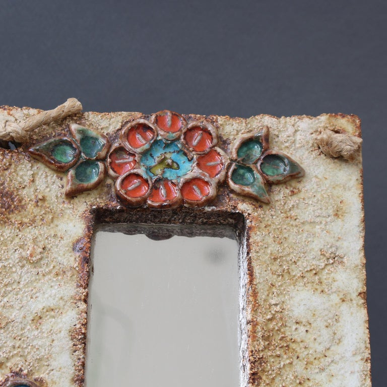 Midcentury French Ceramic Wall Mirror with Flower Motif by La Roue, circa 1960s For Sale 6
