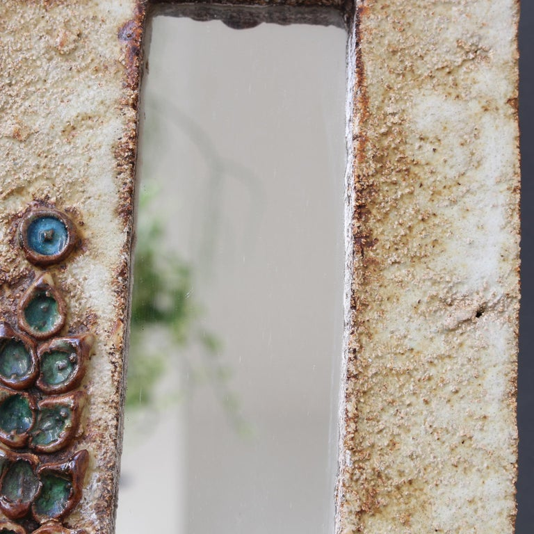 Midcentury French Ceramic Wall Mirror with Flower Motif by La Roue, circa 1960s For Sale 8
