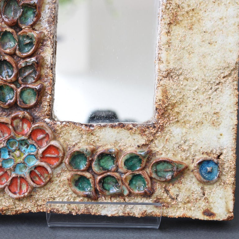 Midcentury French Ceramic Wall Mirror with Flower Motif by La Roue, circa 1960s For Sale 9