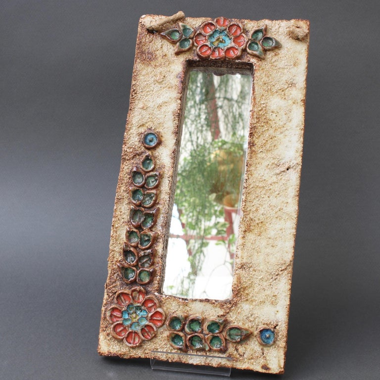 Midcentury French Ceramic Wall Mirror with Flower Motif by La Roue, circa 1960s For Sale 10
