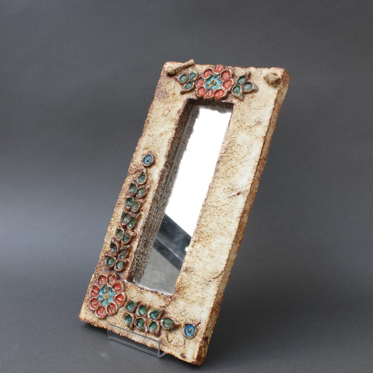 Midcentury French Ceramic Wall Mirror with Flower Motif by La Roue, circa 1960s For Sale 11