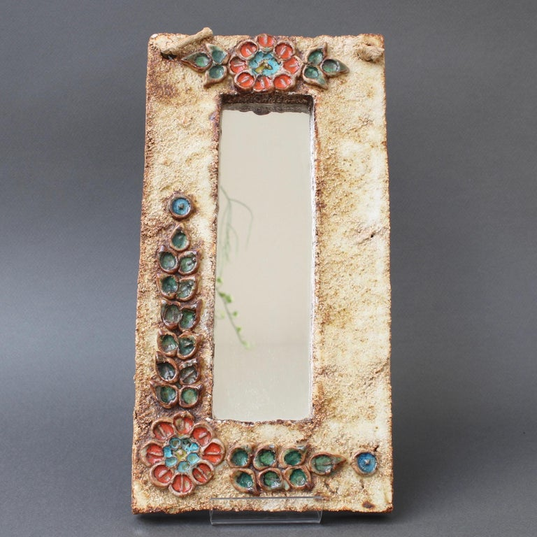 Midcentury French Ceramic Wall Mirror with Flower Motif by La Roue, circa 1960s For Sale 2