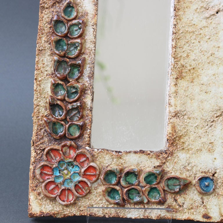Midcentury French Ceramic Wall Mirror with Flower Motif by La Roue, circa 1960s For Sale 3
