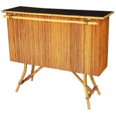 Mid-Century French Cocktail Bar of Rattan with Lacquered Top 'Louis Sognot'