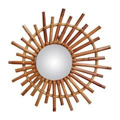 Midcentury French Convex Sunburst Bamboo Mirror, circa 1960s