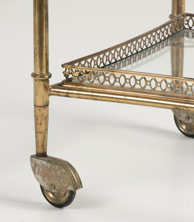 Mid-Century French Copper Bar Cart Trolley For Sale 9