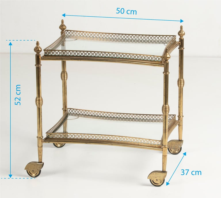 Mid-Century French Copper Bar Cart Trolley For Sale 12
