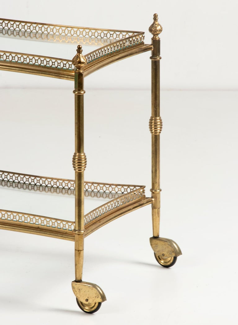 Machine-Made Mid-Century French Copper Bar Cart Trolley For Sale