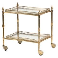 Mid-Century French Copper Bar Cart Trolley