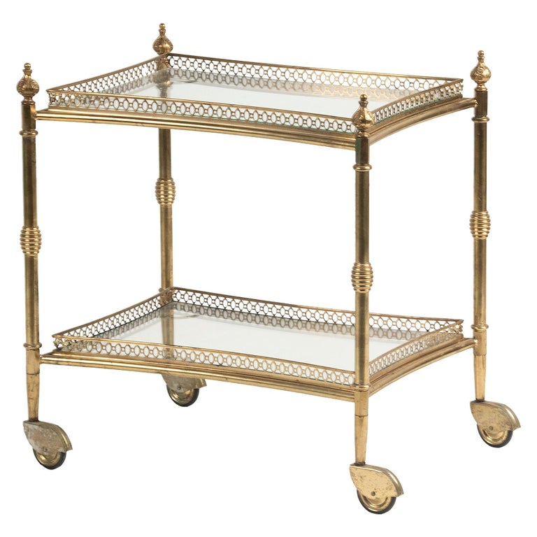 Mid-Century French Copper Bar Cart Trolley For Sale