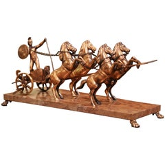 Midcentury French Copper, Brass and Marble Roman Empire Racing Chariot
