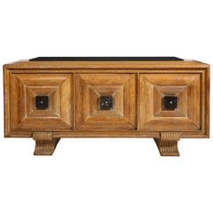 Midcentury French Deco Cerused Sideboard Black Marble Details and Top, France