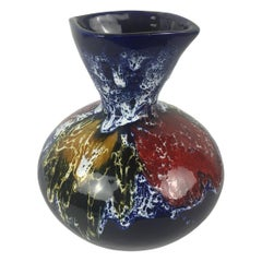 Midcentury French Fat Lava Multi-Color Vase from Vallauris