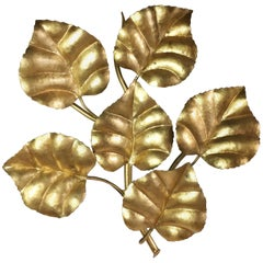 Midcentury French Gilt Leaf Wall Sconce