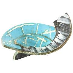 Midcentury French Glazed Ceramic Vide Poche