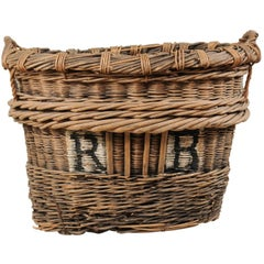 Midcentury French Grape Harvesting Woven Wicker Basket with Two Handles