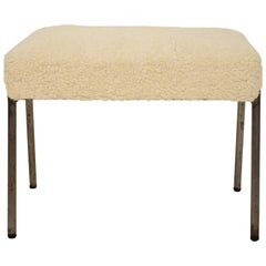 Midcentury French Grey Metal and White Sheep Wool Fabric Stool, circa 1970