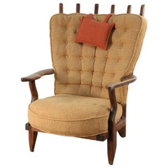 Mid-Century French Guillerme et Chambron Slat Back Lounge / Armchair