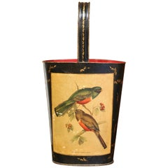 Mid-Century French Hand Painted and Gilt Tole Basket with Bird Decor