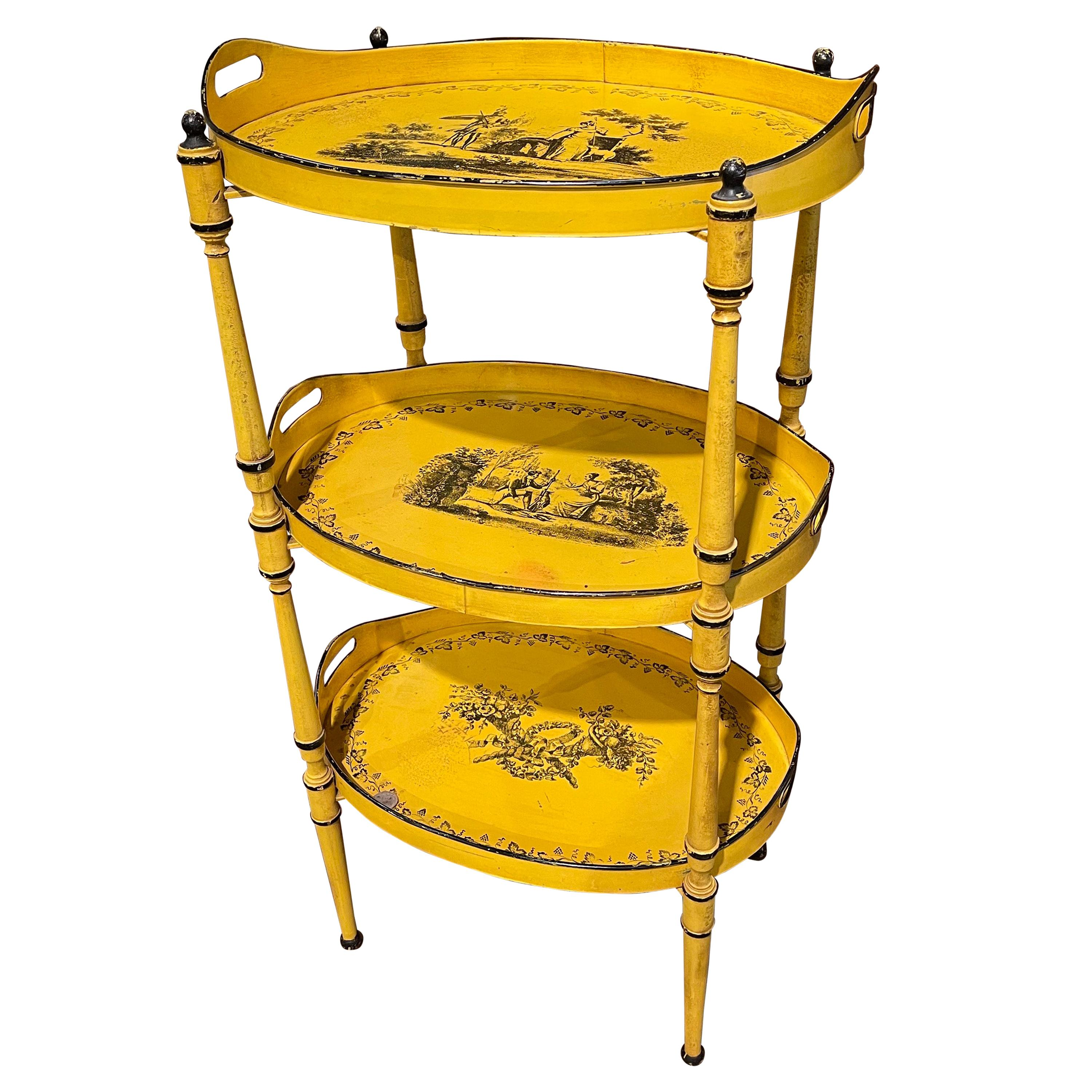 Mid-Century French Hand Painted Three-Tier Tole Side Table