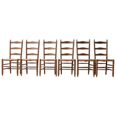 Midcentury French High back Rush Dining Chair Set '6'