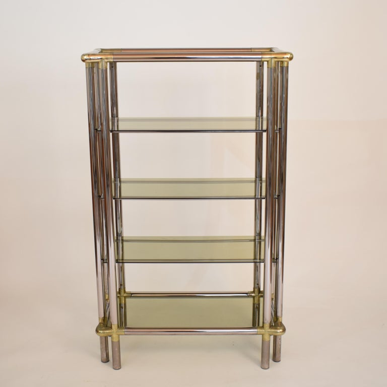 Midcentury French Hollywood Regency Chrome Brass Étagère Display Glass Shelf For Sale 1